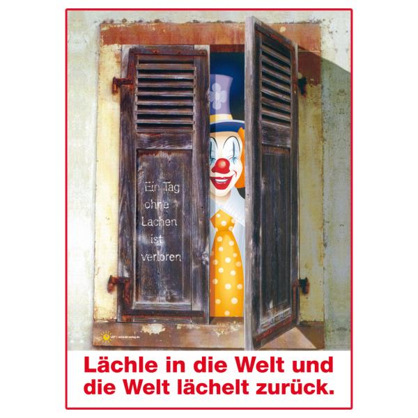 """Poster """"Lächle in die Welt..."""" mit rotem Rahmen"""